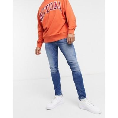 ジャック アンド ジョーンズ メンズ デニムパンツ ボトムス Jack & Jones Intelligence Tom super skinny jeans in darkwash blue