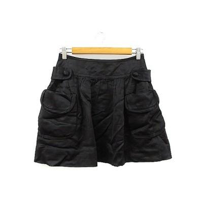 【中古】フローレント FLORENT スカート ギャザー ミニ 麻混 リネン混 36 黒 ブラック /AAM38 レディース 【ベクトル 古着】