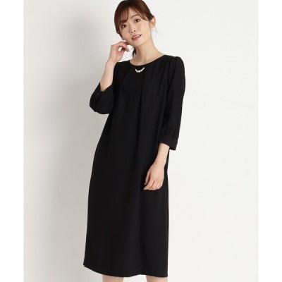 ドレス パールネックレス付きサックドレス