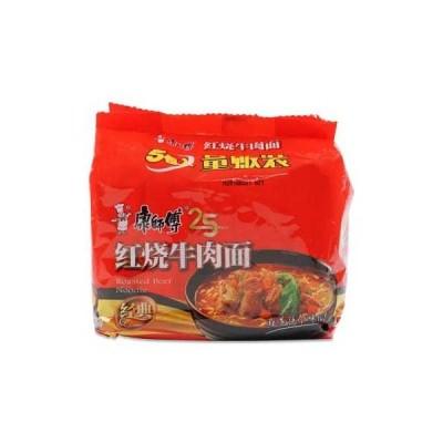 康師傅 紅焼牛肉面 辛 牛肉風味汁麺 5食入り/袋麺【泡面 方便面】ご当地ラーメンスープの素付・インスタントラーメン