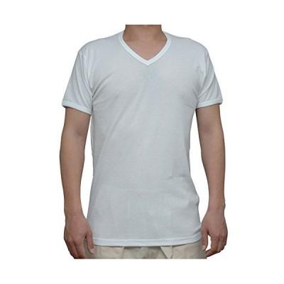 紳士 吸水速乾素材(カノコメッシュ)半袖V首シャツ(白)(3L)