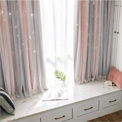 カーテン 星柄 子供部屋 寝室 フック付き 洗える 断熱 北欧風 シンプル UVカット 無地 洗濯 85%遮光 二重カーテン レース オシャレ アクセサリー