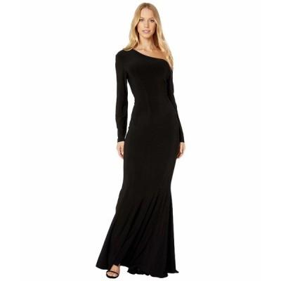 カマリカルチャー ワンピース トップス レディース Long Sleeve Drop Shoulder Fishtail Gown Black