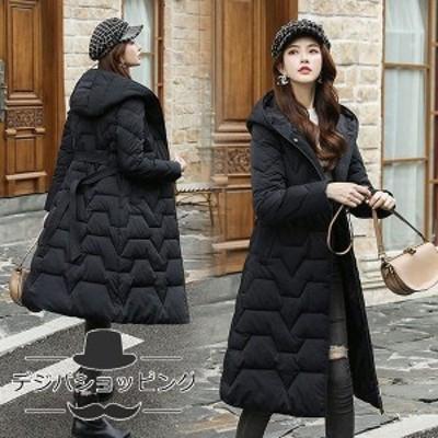 中綿ダウンコート レディース 40代 ロング丈 軽い 冬服 厚手 アウター 中綿コート 中綿ジャケット ダウン風コート フード付き 暖かい 大