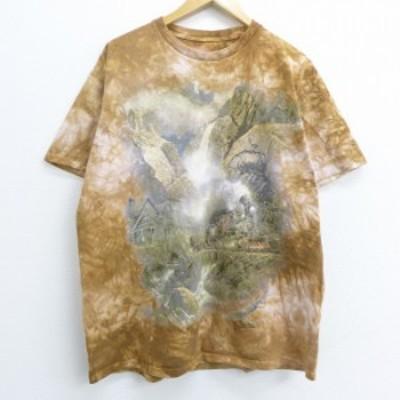 古着 半袖 ビンテージ Tシャツ 90年代 90s 機関車 鉱山 クルーネック 茶他 ブラウン タイダイ XLサイズ 中古 メンズ Tシャツ 古着