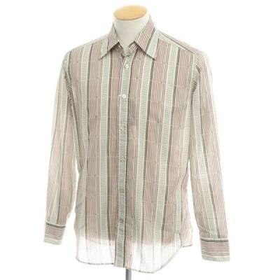 バグッタ Bagutta コットン カジュアルシャツ サンドベージュ×グリーン×ボルドー S