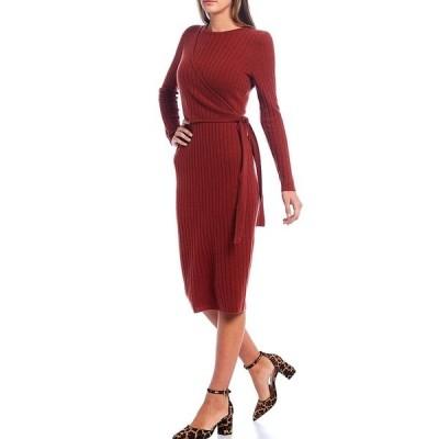 アントニオメラニー レディース ワンピース トップス Luxury Collection Sabine Cashmere Faux Side-Wrap Long Sleeve Midi Dress Cinnamon