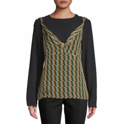 ドライズヴァンノーテン レディース トップス シャツ Geometric-Print Long-Sleeve Silk Blouse
