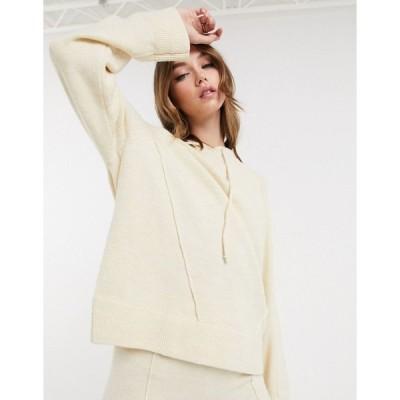 エイソス レディース パーカー・スウェットシャツ アウター ASOS DESIGN co-ord oversized knitted hoodie in cream Cream