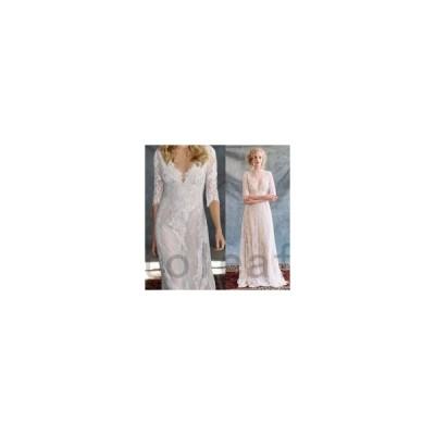 ウェディングドレス二次会花嫁ドレス結婚式ドレスパーティードレスストレートAラインヌーディーおしゃれ個性的可愛いナチュラルカジュアルレトロ