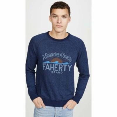 ファレティ Faherty メンズ Tシャツ ロゴTシャツ トップス Logo Crew Neck Tee Shirt Indigo
