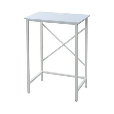 [山善] デスク (スタンディングデスク) 耐荷重60kg 2口コンセント アジャスター付き (ホワイト 幅70cm)