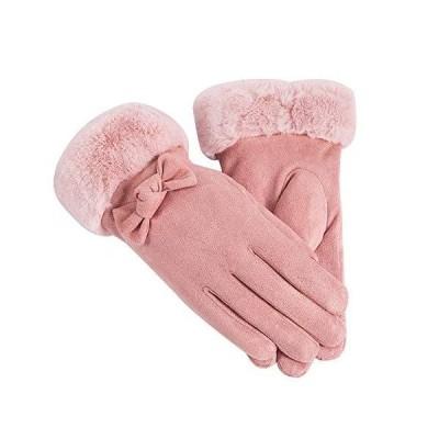 [JPバレンタインデー]手袋 スマホ対応 グローブ 女性用 レディース 通勤 通学 自転車 防寒 暖かい ファー付き リ