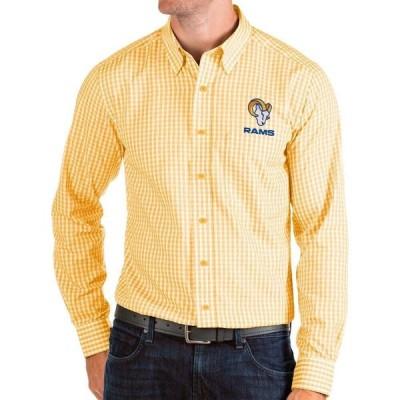 アンティグア Antigua メンズ シャツ トップス Los Angeles Rams Gold Structure Button Down Long Sleeve Shirt