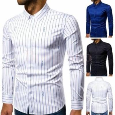 シャツ 長袖 メンズ 20春夏 カジュアルシャツ ワイシャツ ストライプ フォーマル 大きいサイズ トップス シャツ 開襟シャツ