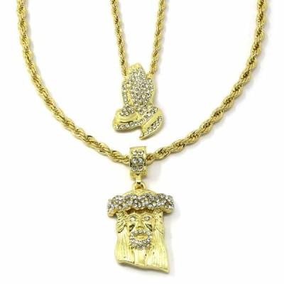 """ネックレス アメリカン ジュエリー ヒップホップ Mens Gold Plated High Fashion Prayer Hands & Jesus 2pcs Bundle 30""""24"""" Rope chain"""