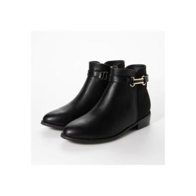 シューファンタジー Shoe Fantasy ラウンドトゥショートブーツ (black)