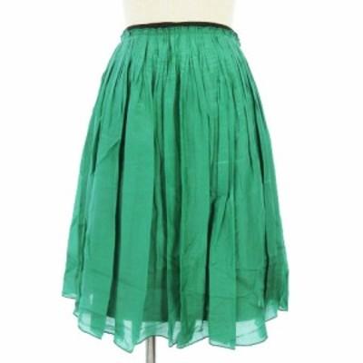 【中古】ロペ ROPE スカート ひざ丈 フレア タック グリーン 緑 36 VGP0 レディース