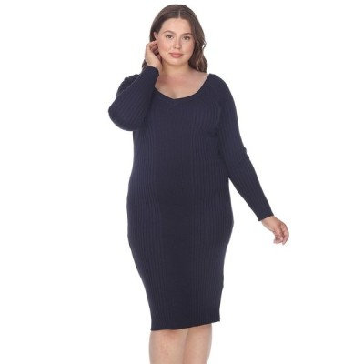 ホワイトマーク ワンピース トップス レディース Women's Plus Size Destiny Sweater Dress Navy