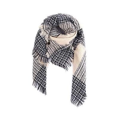アイボレオ(Aibrou)マフラー 大判 ストール レディース スカーフ 肩掛け チェック柄 カシミヤライク 裏起毛 厚手 暖かい 秋冬 ベージュ