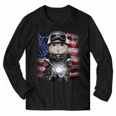メンズ Tシャツ 長袖 プディング・ハムスター バイク 星条旗 アメリカ by Fox Republic