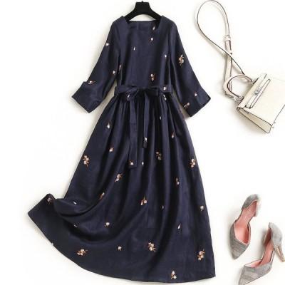 ロングワンピース安いミディアム7分袖可愛い刺繍長袖フォーマル花柄母親ママ入学式式卒業式