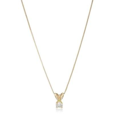 "14k Yellow Gold Diamond Solitaire Pendant Necklace, 18"""