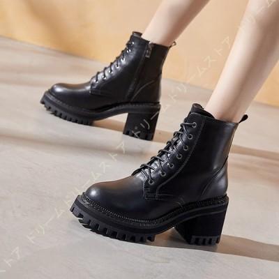 ブーツ レディース ショートブーツ ブーティー ハイヒール ラウンド トゥ シンプル 身長UP 黒 大きいサイズ OL オフィス 通勤 通学 歩きやすい 7CMヒール 革靴