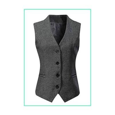 Kegiani Women Waistcoat Vest Gilet V-Neck Business Career Ladies Tops Office Formal Work Wear Outerwear Dark Grey並行輸入品