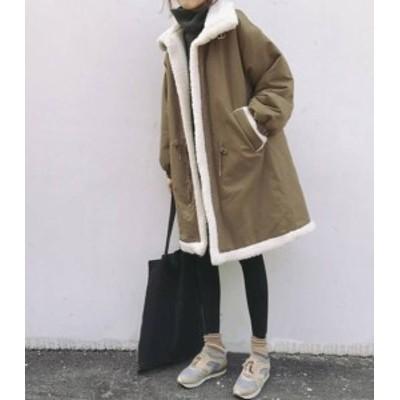 韓国 ファッション レディース ボア ロングコート ミリタリージャケット ビッグシルエット アウター カジュアル ゆったり 防寒 暖かい 秋