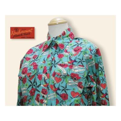 Rockmount 745 ROSE TATOO レディースシャツ ターコイズ U.S.M