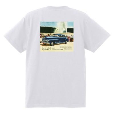 アドバタイジング シボレー 146白 Tシャツ 1948 オールディーズ 50's 60's ローライダー ホットロッド フリートライン