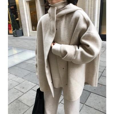 韓国のDongdaemun19冬の新しいゆるい繭の形をした隠しバックルフード付き両面カシミアウールコートジャケットレディースショート