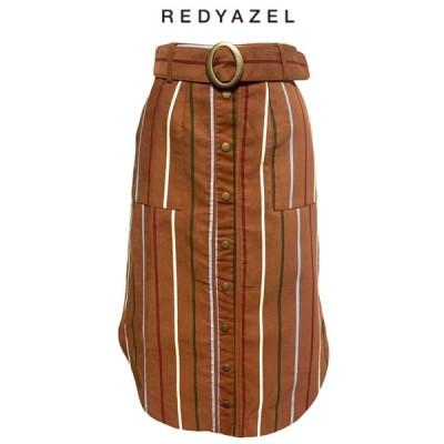 REDYAZEL レディアゼル オリジナルストライププリントタイトスカート ブラウン