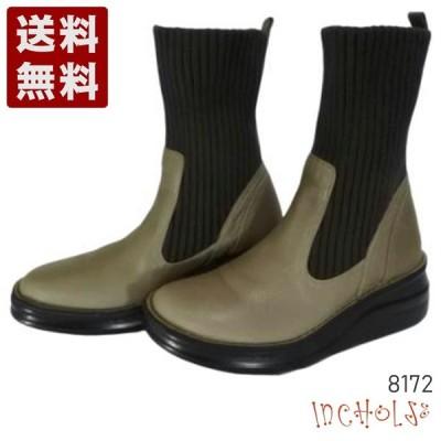 【インコルジェ 8172 グレー】ヒール高ショートニットブーツ