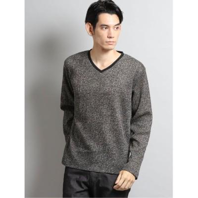 【タカキュー】 ジャガードフリースVネック長袖Tシャツ メンズ ブラウン L TAKA-Q