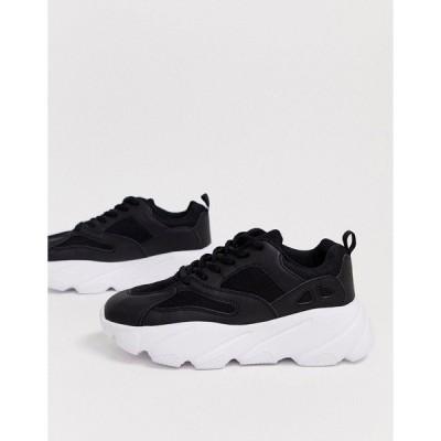 トゥラッフル レディース スニーカー シューズ Truffle Collection chunky sneaker in black Black
