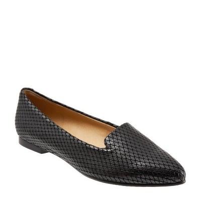 トロッターズ レディース サンダル シューズ Harlowe Pattern Detail Leather Flat Loafers Black