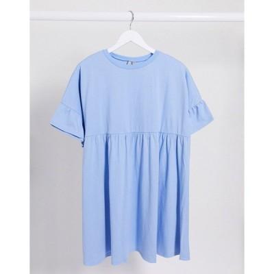 エイソス レディース ワンピース トップス ASOS DESIGN super oversized frill sleeve smock dress in chambray Chambray