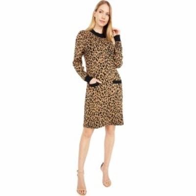 ジェイクルー J.Crew レディース ワンピース ワンピース・ドレス Mock Neck Sweaterdress in Leopard Heather Acorn Black