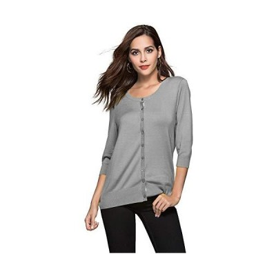 Escalier Women's 3/4 Sleeve/Long Sleeve Button Down Cardigans Basic Soft Kn