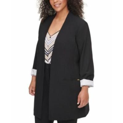 カルバンクライン レディース ジャケット・ブルゾン アウター Plus Size Collarless Open-Front Topper Jacket Black