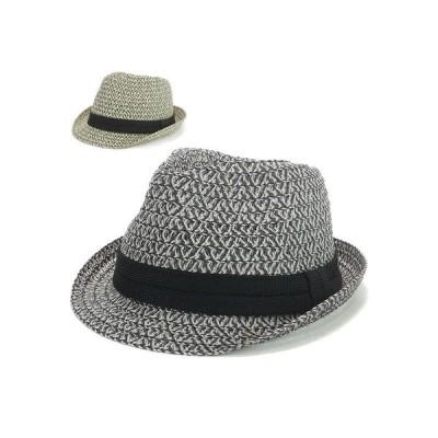 ハット、つば広帽子 帽子 MIXカラーペーパー中折ハット ヤング
