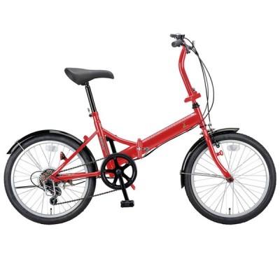 折りたたみ自転車 キャプテンスタッグ ライヤー FDB206 折り畳み自転車 20インチ 6段変速 軽量 20インチ レッド