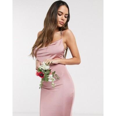 ミスガイデッド Missguided レディース ワンピース ワンピース・ドレス Bridesmaid slinky cowl neck dress in blush ピンク