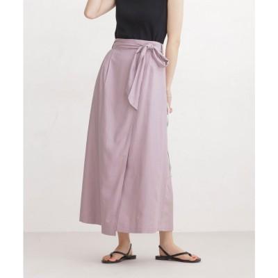 WEB限定/リネンブレンドラップ風スカート ラベンダー3