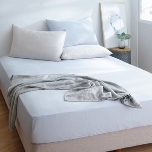 HOLA snow touch 涼感床包枕套組雙人-冰河藍