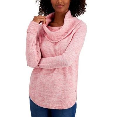 スタイルアンドコー ニット&セーター アウター レディース Petite Waffle Cowlneck Sweater, Created for Macy's Sea Pink Combo