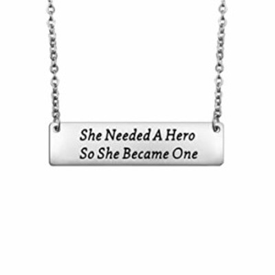 FEELMEM Feminist Necklace She Needed A Hero So She Became One Pendant Bar Necklace Feminism Feminist Jewelry Inspirational Gift