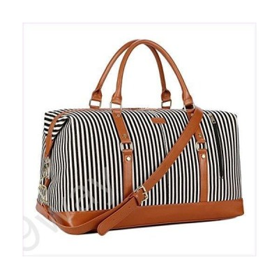 BAOSHA HB-14 Canvas Travel Tote Duffel Bag Carry on Weekender Overnight Bag Oversized for Women and Ladies (Black Strips)並行輸入